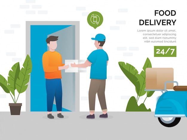 Illustrationskonzept von lebensmittellieferungen Premium Vektoren