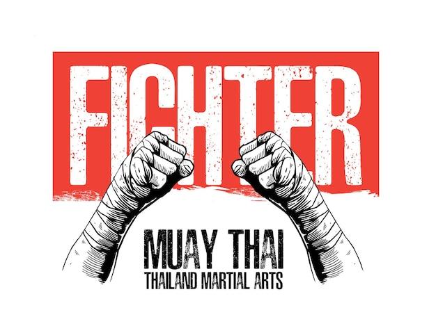 Illustrationskonzept von muay thai martial arts Premium Vektoren