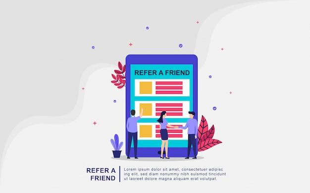 Illustrationskonzept von verweisen einen freund. menschen teilen informationen über empfehlungen und verdienen geld, partnerpartnerschaften und verdienen geld. marketingkonzept strategie. geeignet für landingpage, ui, mobile app. Premium Vektoren