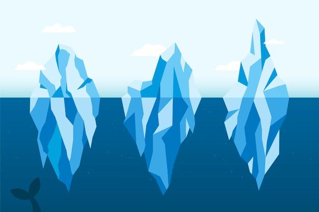 Illustrationspaket des flachen eisbergdesigns Kostenlosen Vektoren