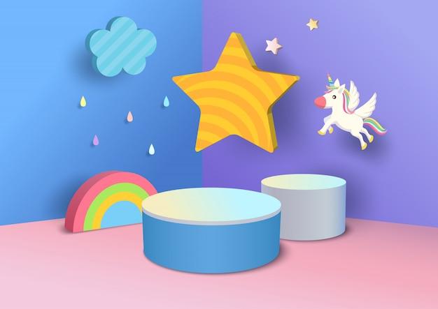 Illustrationspodest verziert mit regenbogen-, wolken-, stern- und einhornentwurf zum 3d arthintergrund für kinder Premium Vektoren