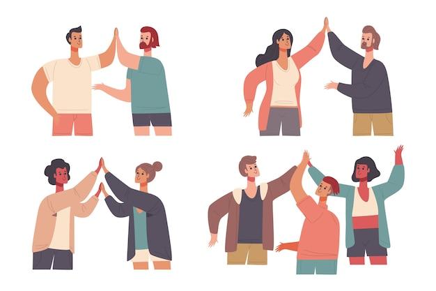 Illustrationssammlung mit den leuten, die hoch fünf geben Kostenlosen Vektoren