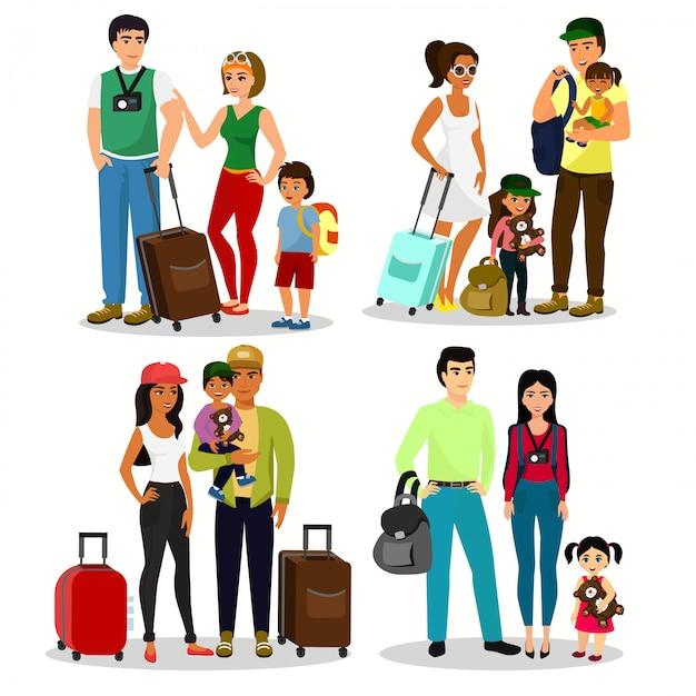 Illustrationssatz der glücklichen leute, die mit kindern reisen. familienreisen zusammen. vater mutter und kinder mit gepäck am flughafen in einem flachen cartoon-stil. Premium Vektoren