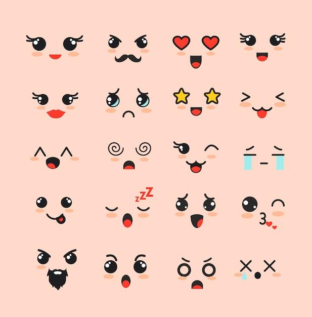 Illustrationssatz der niedlichen gesichter, verschiedene kawaii emoticons, emoji entzückende zeichenikonen auf weißem hintergrund. Premium Vektoren