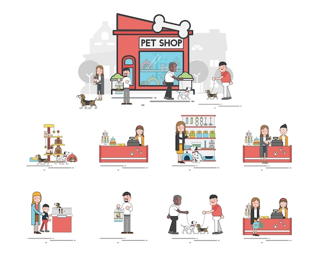 Illustrationssatz des geschäftes für haustiere Kostenlosen Vektoren