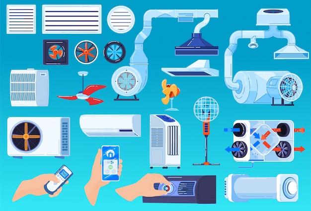 Illustrationssatz des lüftungssystems der klimaanlage, cartoon-sammlung von konditionierungs- oder regulierungstemperaturgeräten Premium Vektoren