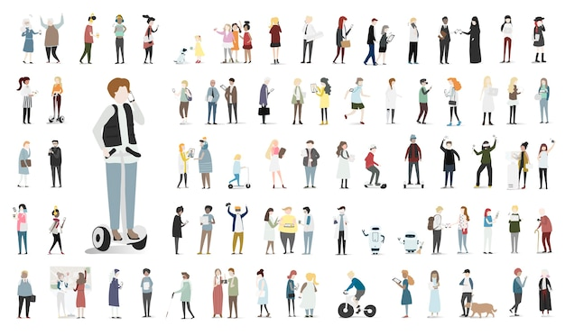 Illustrationssatz des menschlichen Avataravektors Kostenlose Vektoren