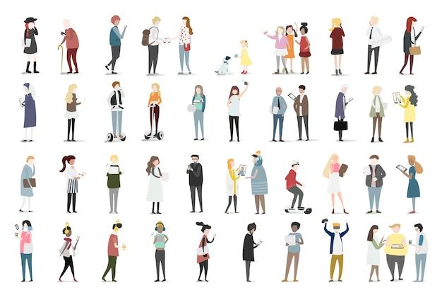 Illustrationssatz des menschlichen avataravektors Kostenlosen Vektoren