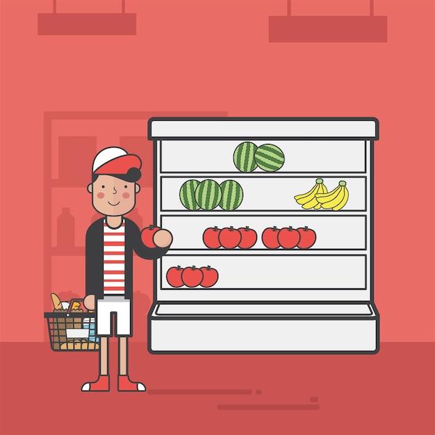 Illustrationssatz des supermarktes Kostenlosen Vektoren