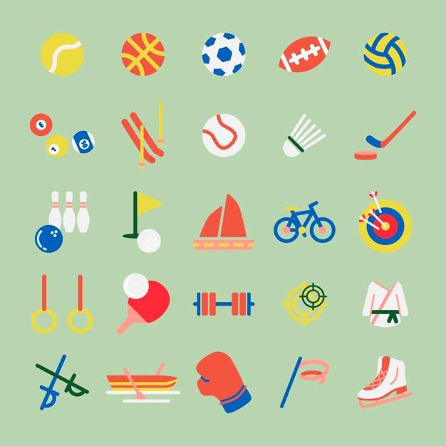 Illustrationssatz hobbys und sport iconsa Kostenlosen Vektoren