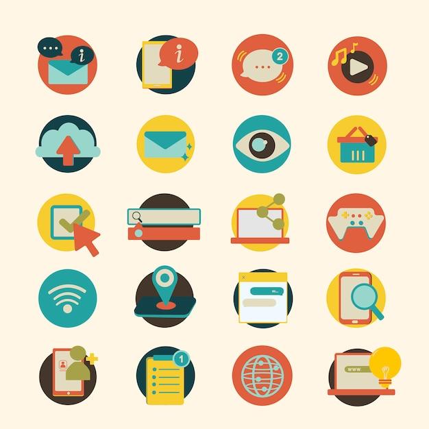 Illustrationssatz ikonen des sozialen netzes Kostenlosen Vektoren