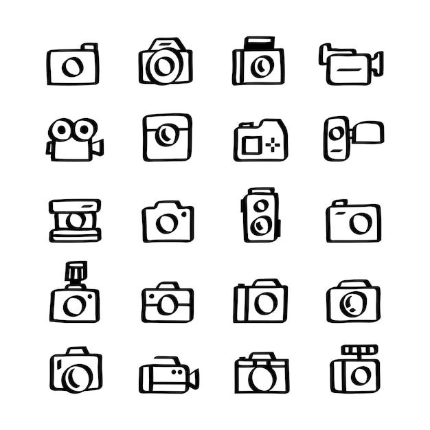 Illustrationssatz kameraikonen Kostenlosen Vektoren