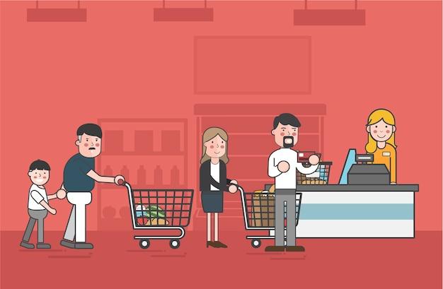 Illustrationssatz supermarktvektor Kostenlosen Vektoren