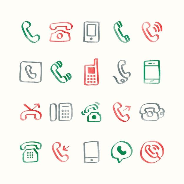 Illustrationssatz telefonikonen Kostenlosen Vektoren