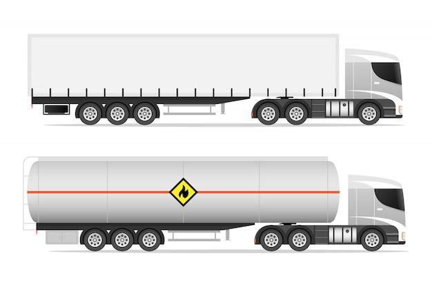 Illustrationssatz von ikonen-lastwagen Premium Vektoren