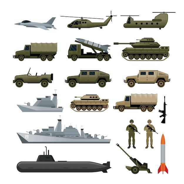 Illustrationsset der militärarmeefahrzeuge, seitenansicht Premium Vektoren