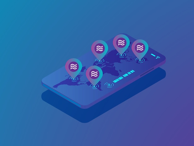 Illustrationsstift der waagemünze mit weltkarte auf dem mobilen smartphonevektor isometrisch Premium Vektoren