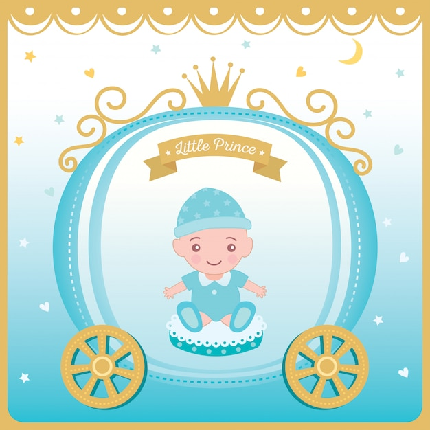 Illustrationsvektor der babypartygrußkarte Premium Vektoren
