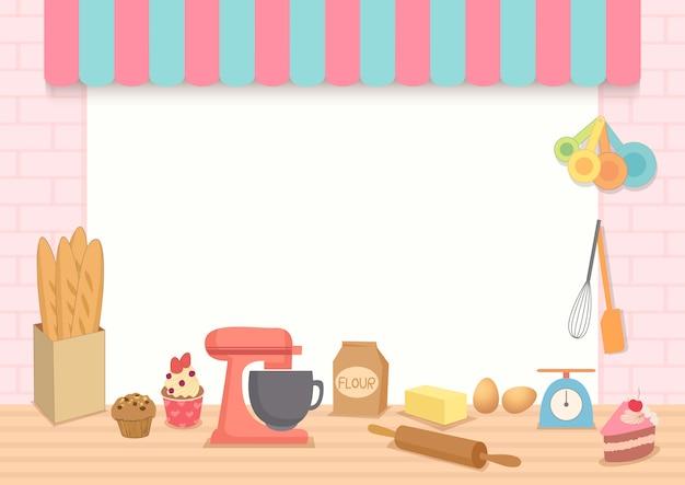 Illustrationsvektor des bäckereirahmens mit backen ausrüstung auf küche Premium Vektoren