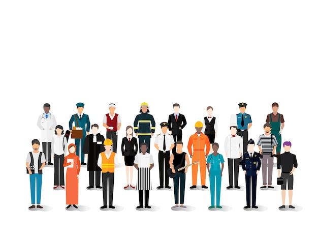 Illustrationsvektor von verschiedenen karrieren und von berufen Kostenlosen Vektoren