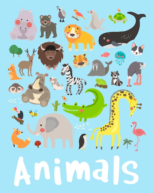 Illustrationszeichnungs-artsatz von wild lebenden tieren Kostenlosen Vektoren