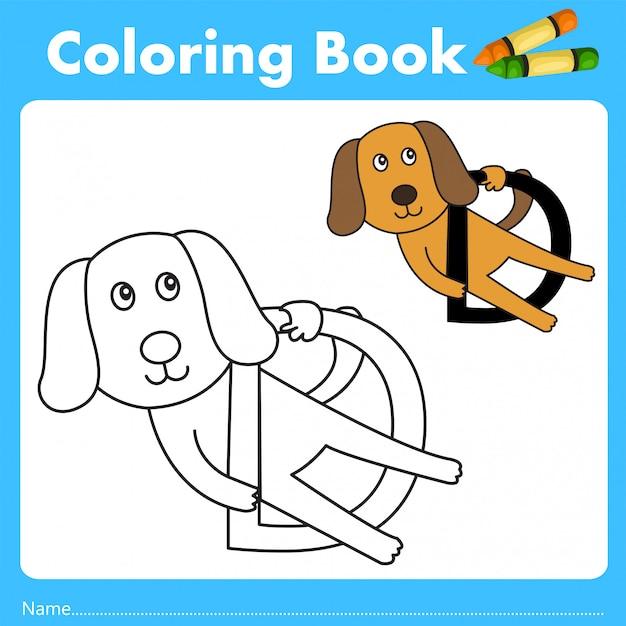 Illustrator des farbbuches mit hundetier Premium Vektoren