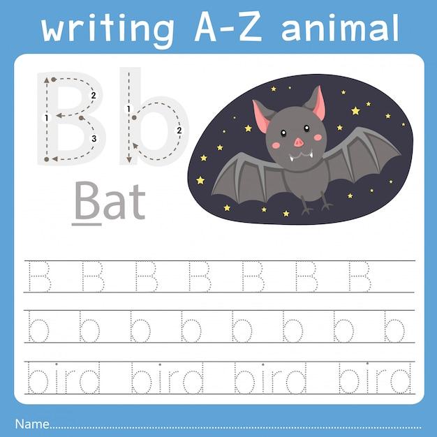 Illustrator des schreibens eines tieres b Premium Vektoren