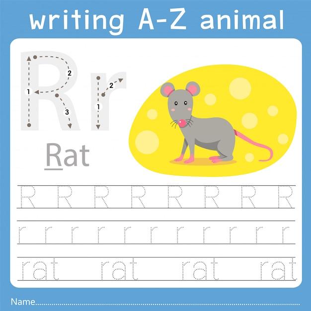 Illustrator des schreibens eines tieres r Premium Vektoren