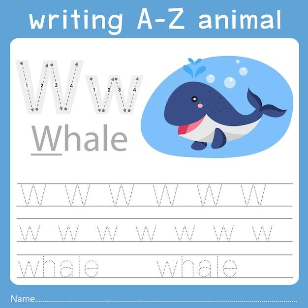 Illustrator des schreibens eines tieres w Premium Vektoren