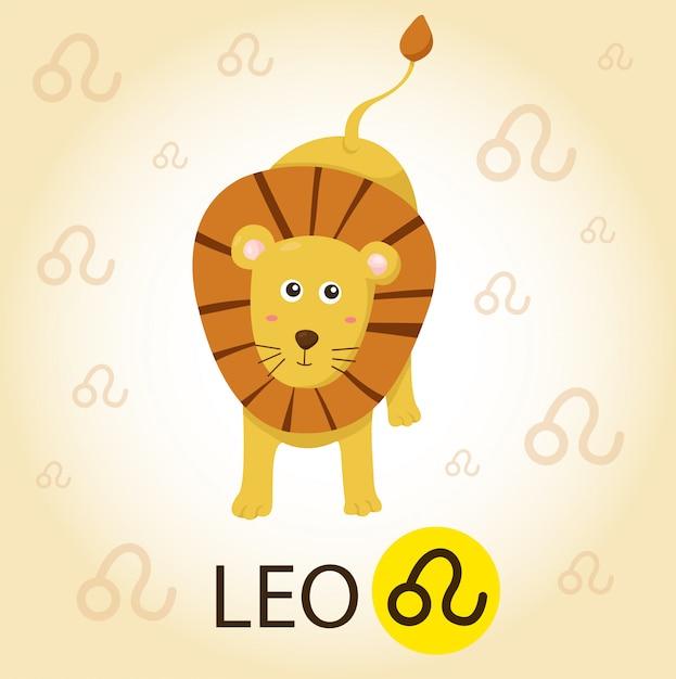 Illustrator des tierkreises mit leo Premium Vektoren