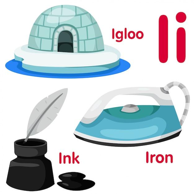 Illustrator von i alphabet Premium Vektoren