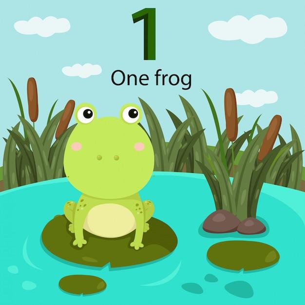 Illustrator von nummer eins mit frosch Premium Vektoren