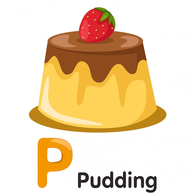Illustrator von p-schrift mit pudding Premium Vektoren