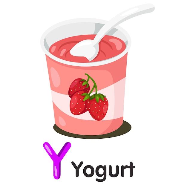 Illustrator von y-schrift mit joghurt Premium Vektoren