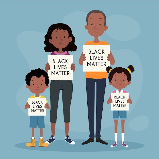 Illustrierte familie, die in der bewegung der schwarzen lebensmaterie protestiert Kostenlosen Vektoren
