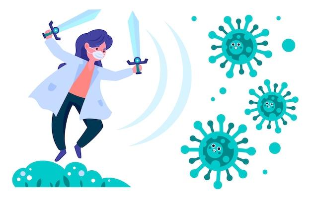 Illustrierte frau, die das virus kämpft Kostenlosen Vektoren