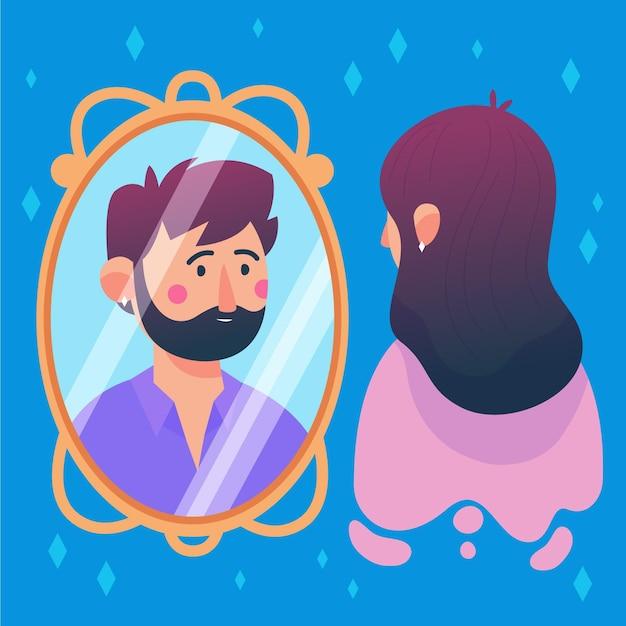 Illustrierte frau, die in den spiegel schaut und einen mann sieht Premium Vektoren
