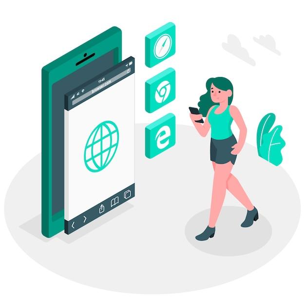 Illustrierte illustration des mobilen browsers Kostenlosen Vektoren