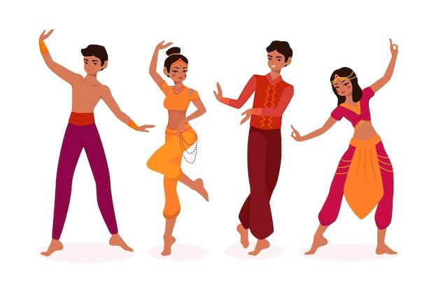 Illustrierte leute, die bollywood-design tanzen Kostenlosen Vektoren