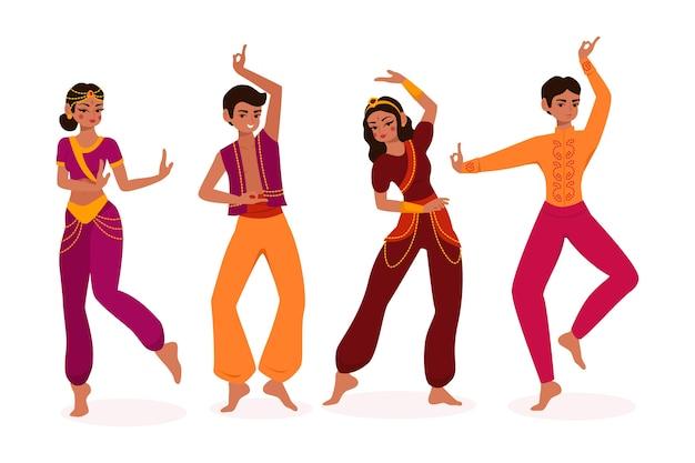 Illustrierte leute, die bollywood-konzept tanzen Kostenlosen Vektoren