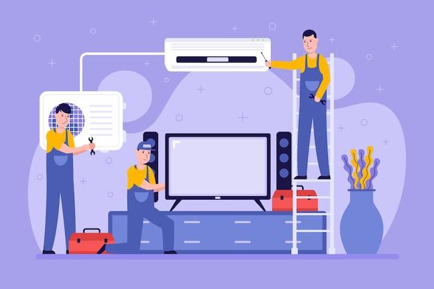 Illustrierte leute, die ein wohnzimmer renovieren Kostenlosen Vektoren