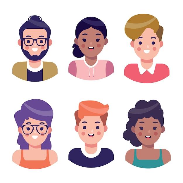 Illustrierte menschen avatare gesetzt Kostenlosen Vektoren