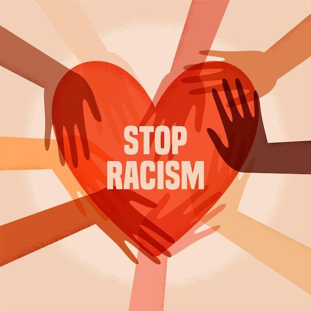 Illustrierte menschen, die an der stop-rassismus-bewegung teilnehmen Kostenlosen Vektoren