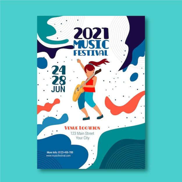 Illustrierte musikfestivalplakatschablone Kostenlosen Vektoren