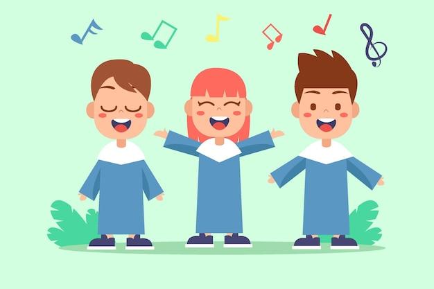 Illustrierte niedliche kinder, die in einem chor singen Premium Vektoren