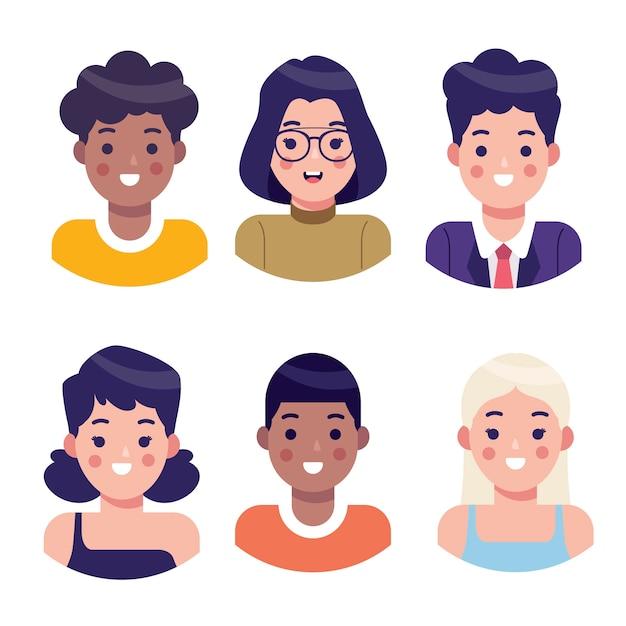 Illustrierte personen-avatarsammlung Kostenlosen Vektoren