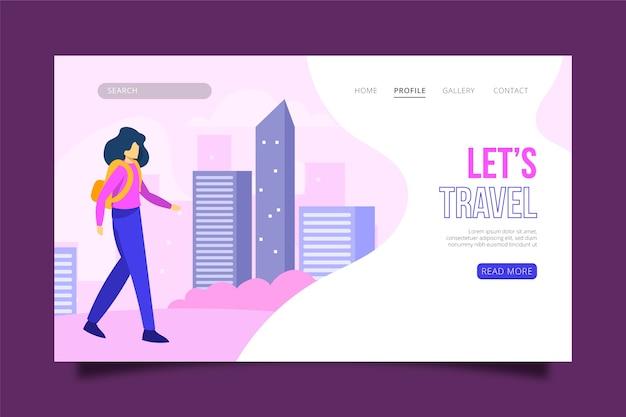 Illustrierte reisende themenorientierte landingpage Kostenlosen Vektoren