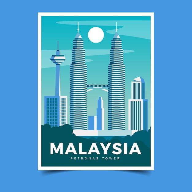 Illustrierte reiseplakatschablone Kostenlosen Vektoren