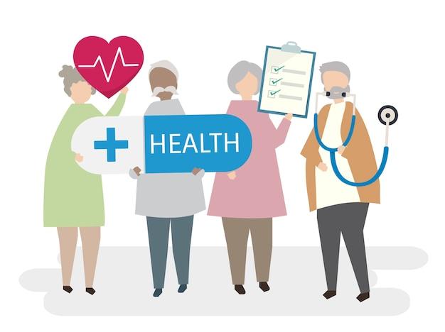 Illustrierte senioren mit schwerpunkt gesundheit Kostenlosen Vektoren