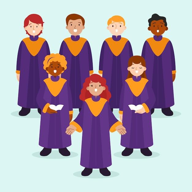 Illustrierte talentierte leute, die in einem gospelchor singen Premium Vektoren
